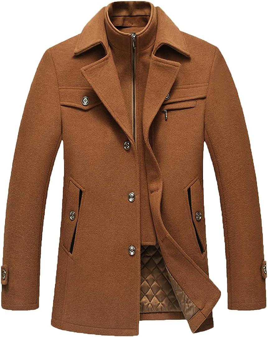 Men's Long Coat Simple Atmosphere Mature Men's Coat Fit Wool Coat With High Cashmere Content Overcoat