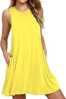 Women's Sleeveless Pocket Casual Loose T-Shirt Dress