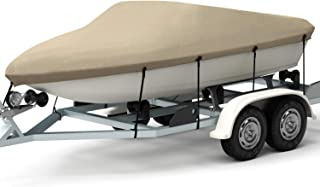 Kohree Trailerable Boat Cover Waterproof, Runabout Boat Seat Cover Heavy Duty 600D Polyester, 17-19 ft Bayliner Boat Cover Fits V Tri-Hull, Fishing Ski Pro-Style Bass Boats Marine, Beige/Grey