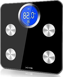 KYG Körperfettwaage Digitale Bluetooth Personenwaage mit Hochpräzise 32.5x32.5 cm Waage mit extra großer Bildschirm für Körperfett BMI, Gewicht, Pulsschlag, Muskelmasse usw. bis 180kg Schwarz