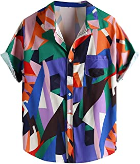 haoricu Men's Loose Blouse Summer Short Sleeve Button Up T Shirt Geometric Color Patchwork Printed Shirt