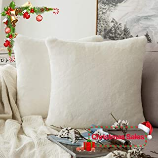 MIULEE Pack of 2 Decorative Christmas White Fur Pillow Cover Luxurious Warm Faux Rabbit Fur Throw Pillow Case Supersoft Cushion Cover for Sofa Bedroom Car 20 x 20 Inch 50 x 50 cm