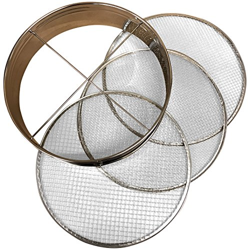 4pc Soil Sieve Set, 12' diameter - Stainless Steel Frame Three Interchangeable Sieves With Varying Mesh Sizes Grade - Mix Soil Filter Large Debris Replacement Screens Available Great for Bonsai