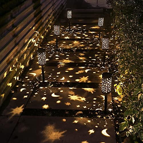 Solar Light Outdoor Garden Patio Pathway Landscape Lights Yard Driveway Lawn Walkway Decoration Star Moon Solar Lantern Waterproof Outside Path Hanging Sidewalk Courtyard