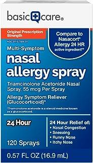 Amazon Basic Care Multi-Symptom Nasal Allergy Spray, Triamcinolone Acetonide, 55 mcg per spray, 0.57 Fl Oz