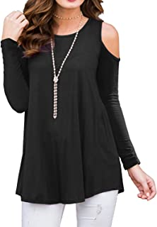 Women's Long Sleeve Casual Cold Shoulder Tunic Tops Loose Blouse Shirts