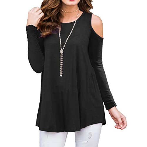 6f88c393138554 PrinStory Women s Short Sleeve Casual Cold Shoulder Tunic Tops Loose Blouse  Shirts