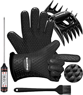 EastKing BBQ Gloves/BBQ Claws/Meat Thermometer and Silicone Brush Superior Value Premium Set (4pcs Set) - Heat Resistant/N...