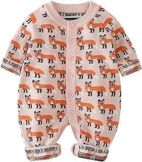Xifamniy Unisex Babies Spring&Spring Knit Romper Cotton Fox Pattern Long Sleeve Jumpsuit