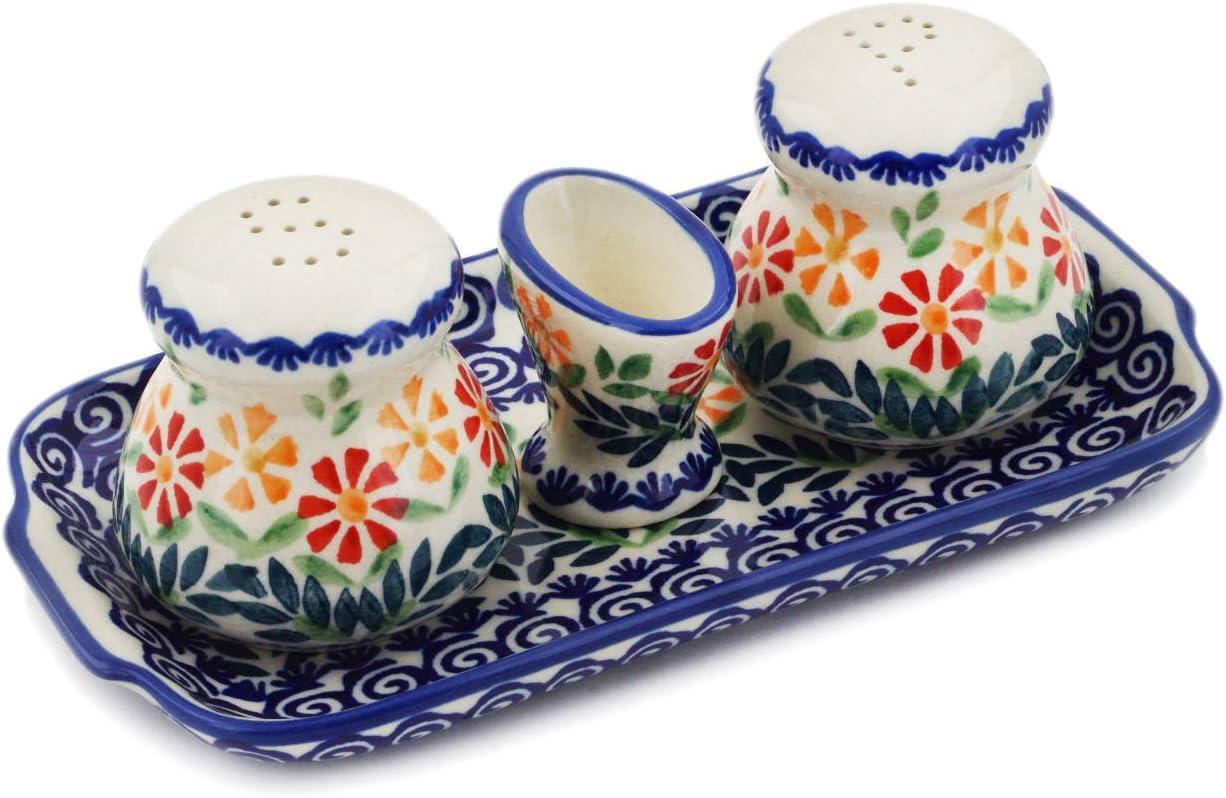 Polish Pottery 7½-inch Salt and Pepper [Alternative dealer] Holder service with Toothpick
