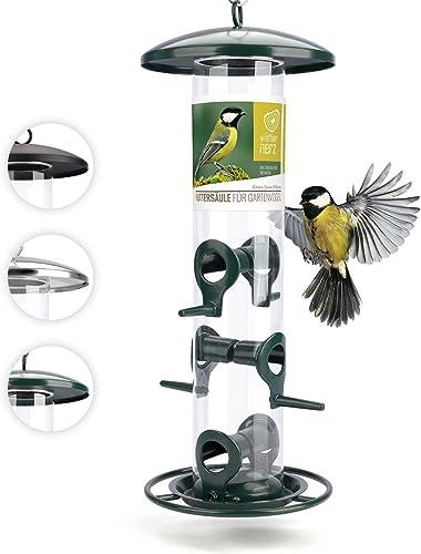 Mangeoire Oiseaux Exterieur 35cm - Distributeur Graines Oiseaux, Mangeoire à Oiseaux Distributeur Suspendu Imperméabl...