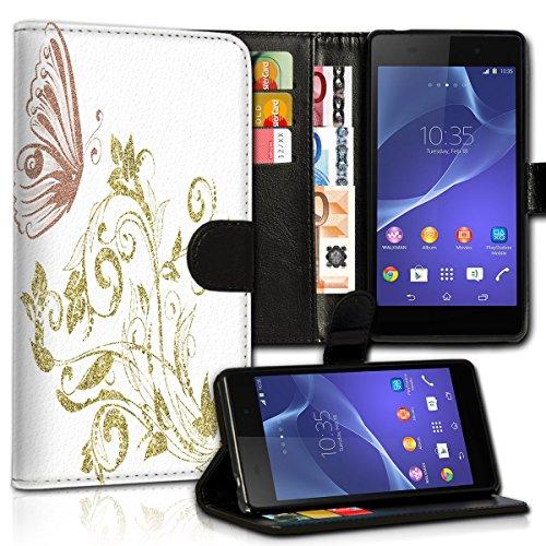 wicostar Book Style Huawei GR3 Premium PU-Leder Tasche Flip Brieftasche Handy Hülle Kartenfächer mit Standfunktion für Huawei GR3 - Design Flip MVC87
