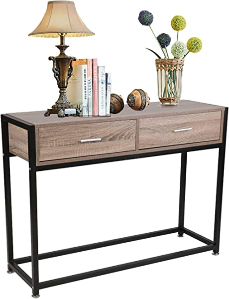 Dpoticus Entryway Console Table Accent Table Hallway Foyer Long Sofa Table Metal Frame Oak And Black