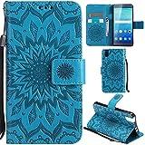 Ooboom® Huawei ShotX Hülle Sonnenblume Muster Flip PU Leder Schutzhülle Handy Tasche Hülle Cover Stand mit Kartenfach für Huawei ShotX - Blau