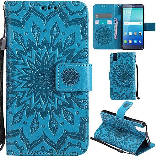 Ooboom® Huawei ShotX Hülle Sonnenblume Muster Flip PU Leder Schutzhülle Handy Tasche Case Cover Stand mit Kartenfach für Huawei ShotX - Blau