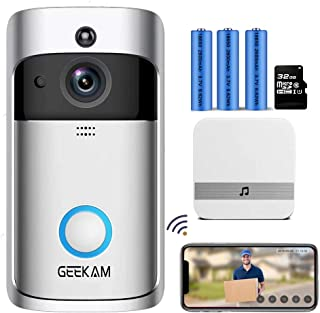 GeeKam Video doorbell Camera HD WiFi Smart Security Wireless Doorbell with PIR Motion Detection/Night Vision/Two-Way Talk/Real-Time Notification for iOS&Android/ 32GB Micro SD Card