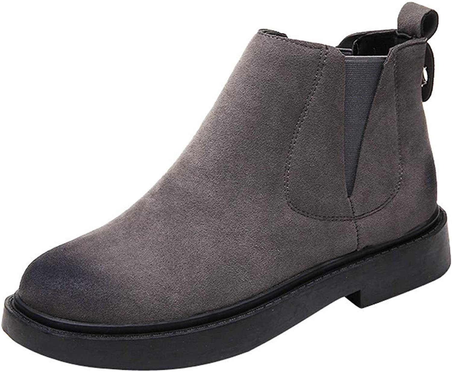 JaHGDU Women's Round Toe shoes Flat Booties Slip on Suede Solid color shoes Martin Boots Super Wild Tight Casual Quality for Womens