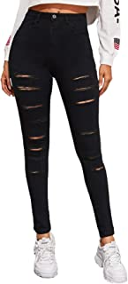 SweatyRocks Women's Hight Waisted Stretch Ripped Skinny Jeans Distressed Denim Pants