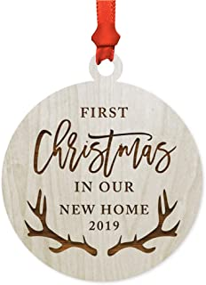 Andaz Press Laser Engraved Wood Christmas Ornament, First Christmas in Our New Home 2019, Deer Antlers, 1-Pack, Includes Ribbon and Gift Bag