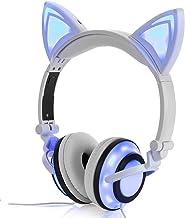 Stereo Kids Headphones,LIMSON Cat Headphones Foldable Size Adjustable Earphones with Flashing LED Lights for Kids Teens Ad...