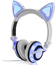 Headphone Cat Ear Headset,Chargeable LED Light Foldable Adjustable Earphones for Kids Teens Adults, Compatible for Ipad,Tablet,Computer,Mobile Phone MP3 LX-R107 (White)