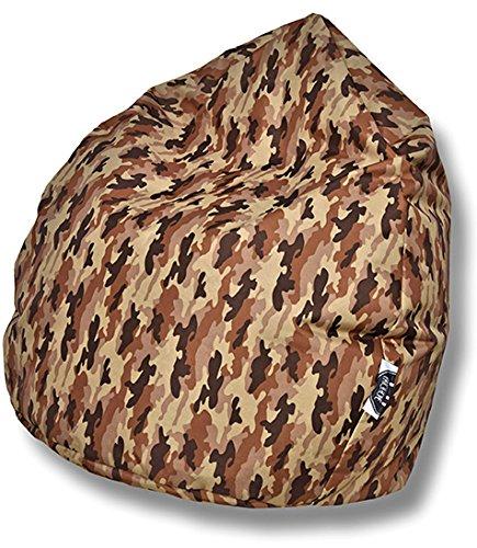 Patchhome Sitzsack Camouflage Tropfenform Braun für In & Outdoor XXXL 480 Liter - mit Styropor Füllung in 5 versch. Farben und 3 Größen
