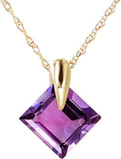 14k Yellow Gold Necklace with Natural Amethyst Pendant