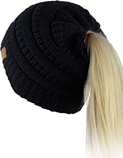 f84b0bd7f99 C.C BeanieTail Soft Stretch Cable Knit Messy High Bun Ponytail Beanie Hat