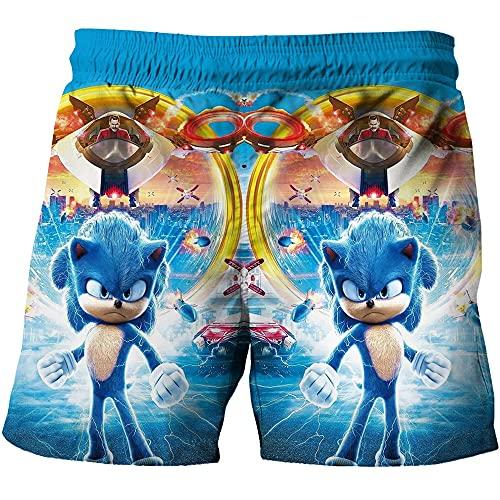 Sonic Beach Pantalones Niños Ropa Sets Tops+Pantalones Sets Sonic T Shirt Niñas Camisetas Niños Pantalones Cortos 3d impresión playa Deporte Traje Bebé Niños T-shirt