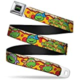 Buckle-Down Seatbelt Belt - Classic TMNT 4-Turtle Faces Peperroni Pizza/Group Pose - 1.5' Wide - 32-52 Inches in Length