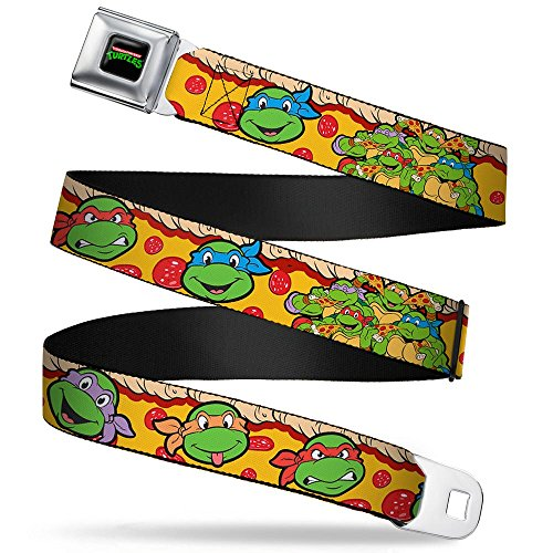 Buckle-Down Seatbelt Belt - Classic TMNT 4-Turtle Faces Peperroni Pizza/Group Pose - 1.5' Wide - 24-38 Inches in Length