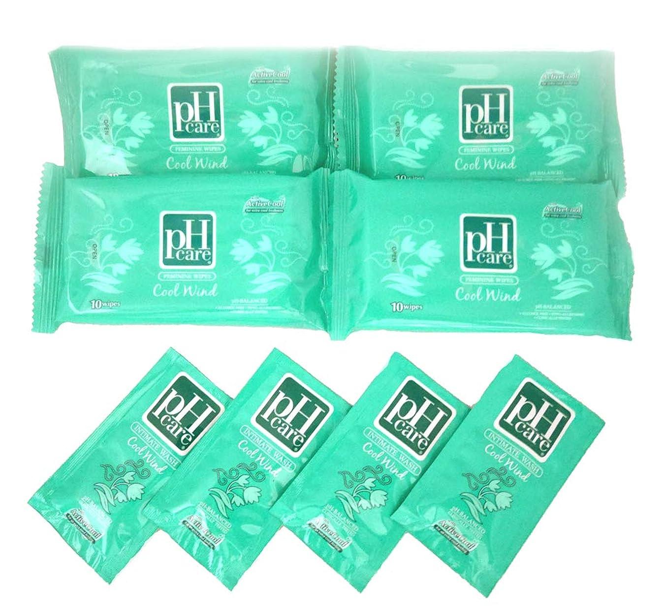 民兵排他的不健康(ピーエイチケア)pHcare フェミニンウェットシート クールウィンド 4袋 携帯パウチ 4袋 セット