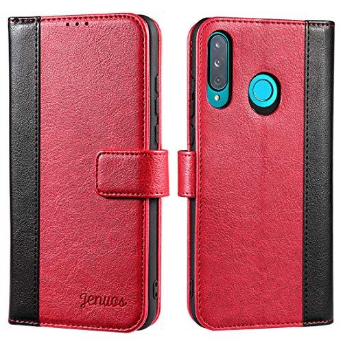 Jenuos Cover per Huawei P30 Lite, Custodia in Pelle con Chiusura Magnetica per Huawei P30 Lite 2019 –Rosso Vino (P30L-JG-WR)