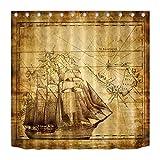 LB Vintage Karte & Schiff auf altem Papier,Duschvorhang aus mehltauresistente Polyester,71