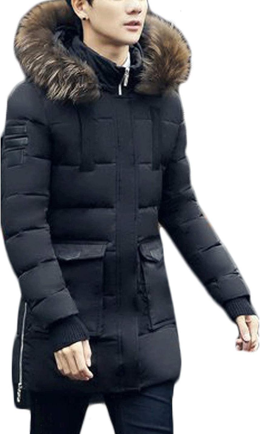 Jenkoon Men's Mig-Length Cotton Padded Down Alternative Parka Anorak Hooded Jacket