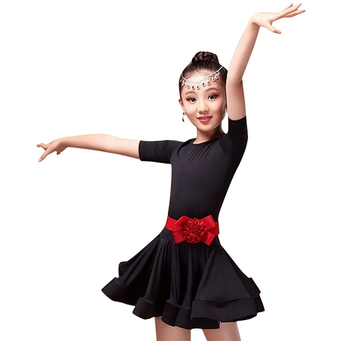 Happy Cherry Kid Girls Spandex Latin Rumba Samba Dance Dress Ballroom Dancewear