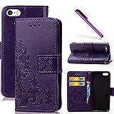 COTDINFOR iPhone 5C Funda trébol Cierre Magnético Billetera con Tapa para Tarjetas de Cárcasa Elegante Retro Suave PU Cuero Caso Protectora Case para iPhone 5C Clover Purple SD