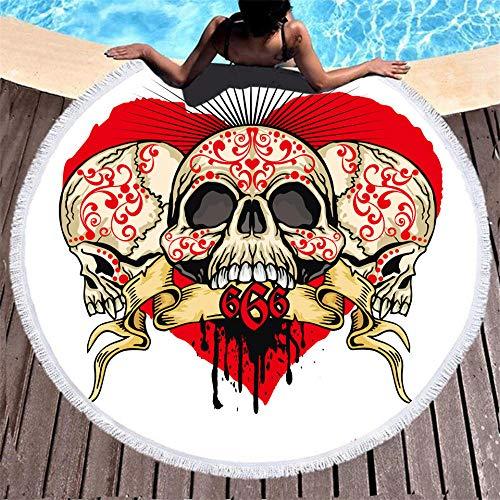 BCDJYFL Microfibra Toalla De Playa Cráneo Creativo De Secado Rápido, Toalla De Microfibra para Sauna Toalla De Playa Toalla De Viaje Playa Sauna.-Diámetro: 150Cm