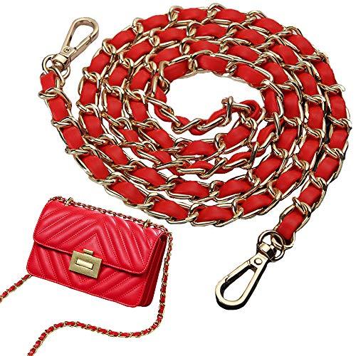 Kette Trageriemen, Umhängetaschenkette, Schulter Leder Kettenriemen Ersatz, Vintage Rotes PU-Leder Metall Ersatzkette mit drehbaren Schnallen für Handtasche, Umhängetasche, 1 x 120 cm (Golden)