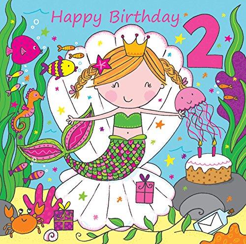 Twizler, Biglietto Di Auguri Per 2° Compleanno Per Ragazza, Con Sirena E Glitter, Per Due Anni, Biglietto Di Auguri Di Compleanno Per Bambini, Biglietto Di Auguri Di Compleanno Per Bambine
