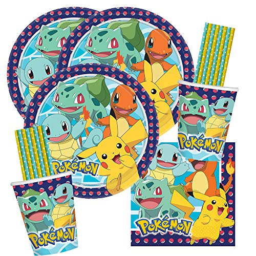 spielum 64-teiliges Party-Set Pokemon - Teller Becher Servietten Trinkhalme für 16 Kinder