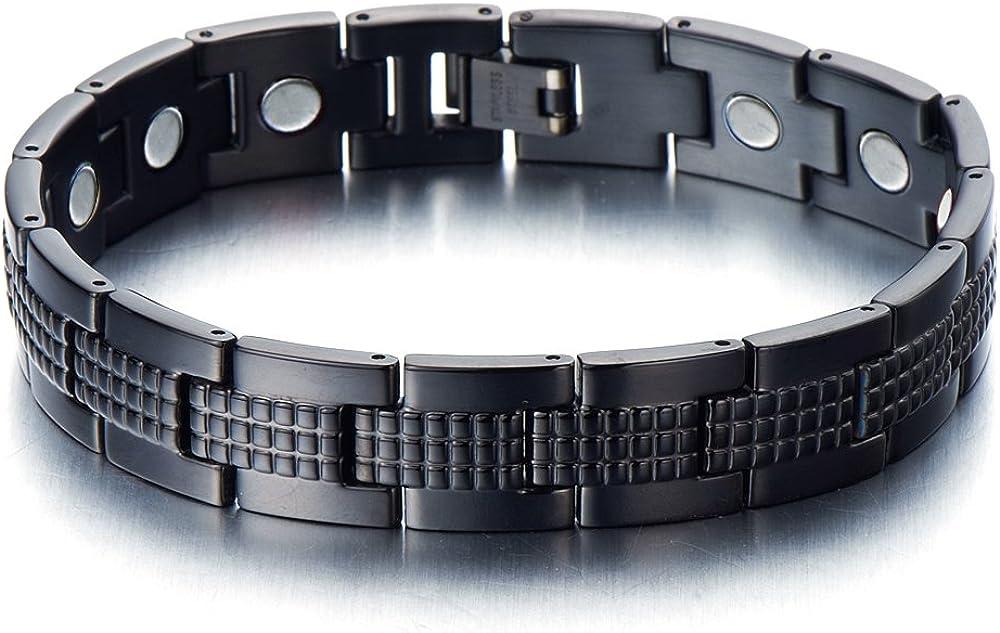 Moderno y Elegante, Pulsera de Hombre, Brazalete Magnetico, Acero Inoxidable, con Imanes, Link, Color Negro