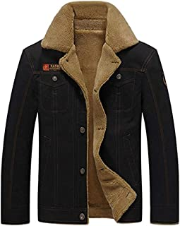 XinYangNi Men's Plus Cotton Warm Fur Collar Casual Button Military Cargo Windproof Jacket Outwear Parka Winter Quilted Coat