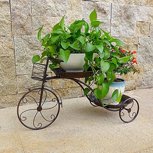 Cdbl étagère de Rangement Style de vélo Iron Frame Flower Présentoir Noir et cuivre Design pour Vos Herbes, Fleurs, Plantes Indoor Outdoor Living Room Support en Bois Massif
