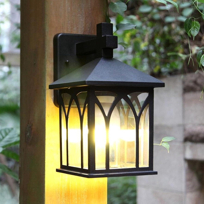 Unbekannt CHENGYI Wandlampe, Moderne minimalistische im Freien wasserdichte Rost-Garten-Wand-Lampen-Korridor-Schwarze Aluminiumtür-vordere Wand-Lampe E27