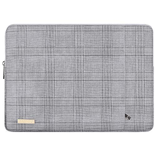 MOSISO Laptop Sleeve Compatible with 13-13.3 Inch MacBook Air/MacBook Pro Retina/2019 Suface Laptop 3/Surface Book 2, PU Leather Plaid Pattern Padded Bag Protective Case, Gray & Black