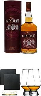 Glenturret SHERRY Single Malt Whisky 0,7 Liter  Schiefer Glasuntersetzer eckig ca. 9,5 cm Durchmesser 2 Stück  The Glencairn Glass Whisky Glas Stölzle 2 Stück