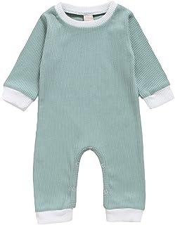 الوليد الطفل رومبير كم طويل مخطط الصلبة عارضة بذلة طفل الرضع playsuit الاطفال ازياء الملابس (Color : Blue, Kid Size : 24M)