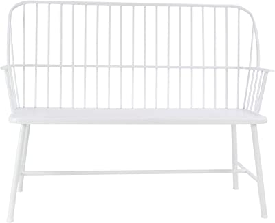 "Deco 79 86944 Modern Metal Outdoor Bench, 20"" W x 38"" H, White"