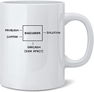 Engineer, Problem, Solution, Sarcasm - Funny Engineer Mug - White 11 Oz. Coffee Mug - Great Novelty Gift for Engineer, Mom, Dad, Co-Worker, Boss, Friends and Teachers by Mad Ink Fashions